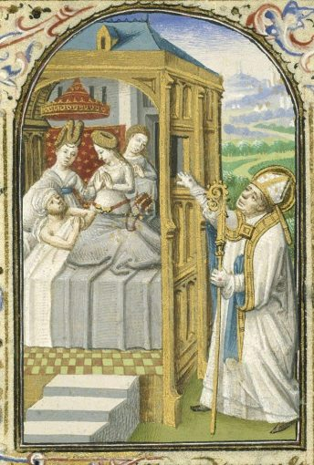 800px St Nicholas Bishop of Myra gives secretly dowries to three poor girls Book of hours Simon de Varie KB 74 G37 084r min 690x1024