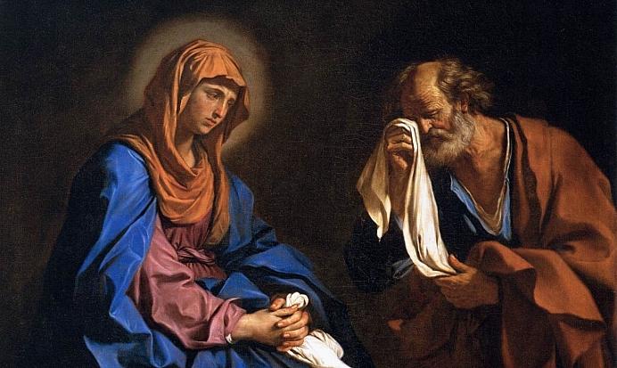 Guercino St Peter Weeping before the Virgin WGA10949